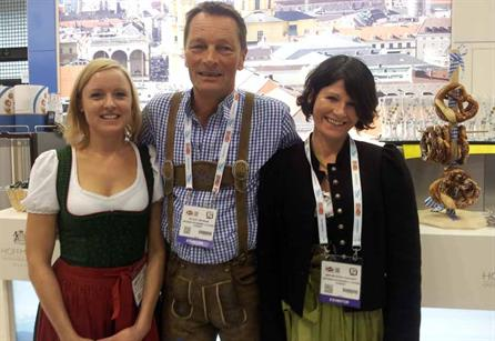 Exhibitors from Germany shared beer and pretzels with EIBTM attendees