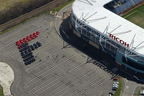 The cars formed the letter 'F' before driving 1.5 miles into Coventry as part of a procession.