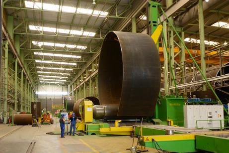 Dong's 940-tonne monopiles for Gode Wind 1 and 2 are being built in Rostock, Germany