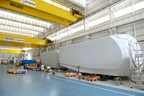 The plant will facility will produce Acciona's AW3000 3MW turbine