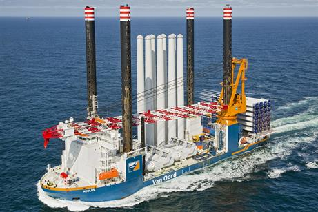 Van Oord's new installation vessel Aeolus has completed its first project (pic: Flying Focus)