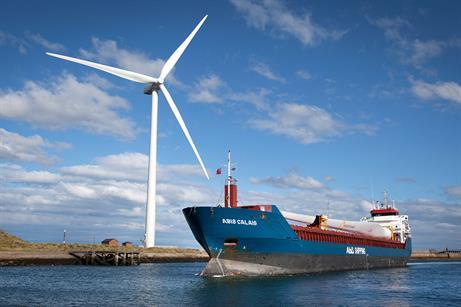 The 78-metre blade passes a Senvion 3.4MW turbine, using a 50.8-metre blade