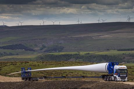 Collett Transport delivered 33 blades for the 11 Senvion 3.4MW turbine