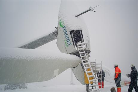 The turbine can be lowered in adverse weather
