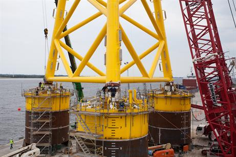 A suction bucket foundation has been installed at Borkum Riffgrund 1