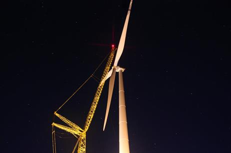 The 100-metre rotor is installed