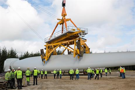 Siemens has created a mechanism for mounting its 75-metre long blades on to offshore turbines