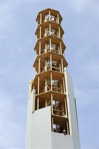 A prototype 100-metre wooden tower was installed near Hanover in 2012 to show benefits of wood