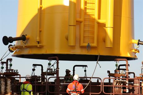 Construction is underway at Vattenfall's 288MW Sandbank offshore project