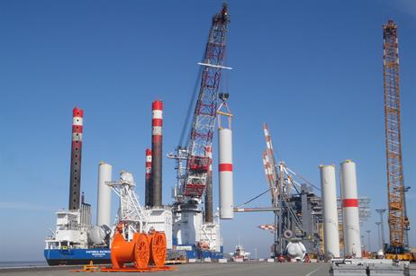 Eight tower segments were loaded on to RWE's Victoria Mathias vessel