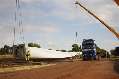 Delivery of Nordex turbines and blades has begun at RES' 10MW Woolley Hill project