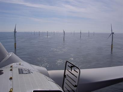 View from a Vestas V90-3.0MW at the 195MW Belwind project, Belgium
