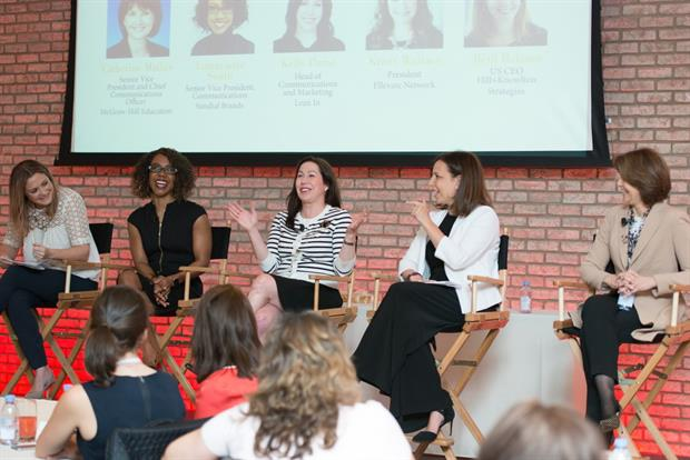 Ellevate Network's Kristy Wallace, Sundial Brands' Latraviette Smith, Lean In's Kelly Parisi, Hill+Knowlton Strategies' Beth Balsam, McGraw-Hill Education's Catherine Mathis
