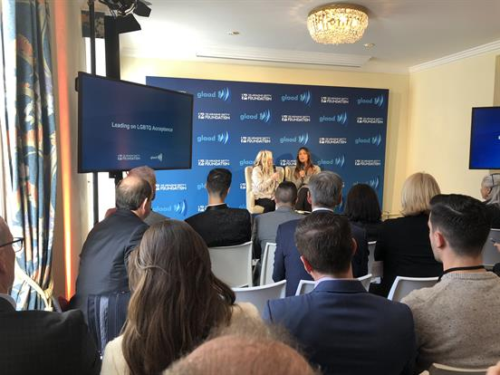 Ariadne Getty interviewed by transgender model Geena Rocero at an event hosted by GLAAD.