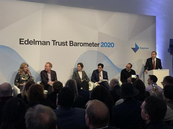 Richard Edelman introduces the panel for the Edelman Trust Barometer 2020.