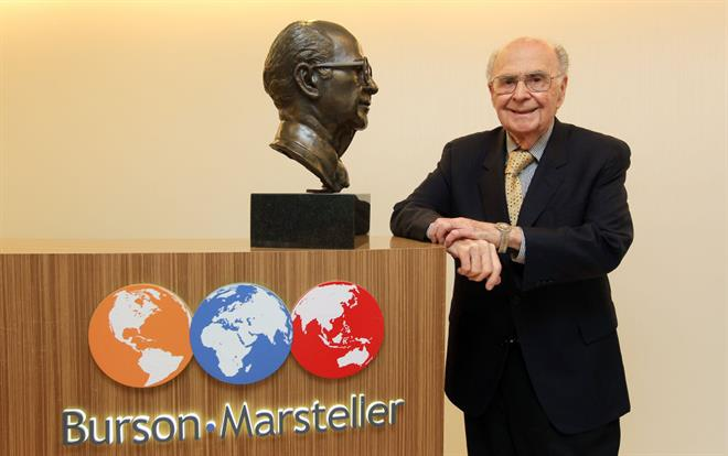 Harold Burson posing with a sculpture of himself, at their offices in Hong Kong. (Photo by Jonathan Wong/South China Morning Post via Getty Images)