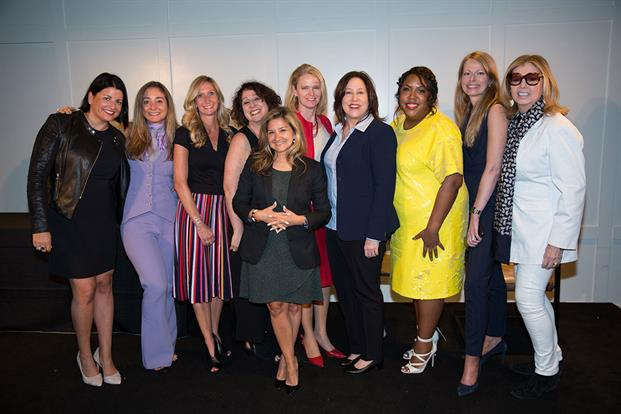 A group shot of 10 of the Hall of Femme inductees (l-r): Jen Risi, president and founder, The Sway Effect; Caroline Dettman, chief creative officer, Golin; Julie Batliner, president, Carmichael Lynch Relate; Jenn Michaels, SVP of PR, MGM Resorts International; Olga Fleming, CEO, Y&R PR; Kathryn Metcalfe, SVP, CCO, CVS Health; Kati Everett, SVP of PR, CCO, Novant Health; Cheryl Overton, president, Egami; Keira Lombardo, EVP, corporate affairs, Smithfield Foods; and