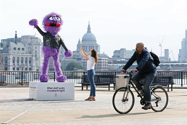 A giant, purple, furry Wi-Fi-enabled puppet appeared at London's Southbank to help Londoners stay connected. The installation was created by Three mobile as part of the network's pledge to #makeitright for mobile users. The statue is a 10ft replica of the star of Three's latest TV campaign, Jackson, who was created by Jim Henson's Creature Shop, renowned for the Muppets.