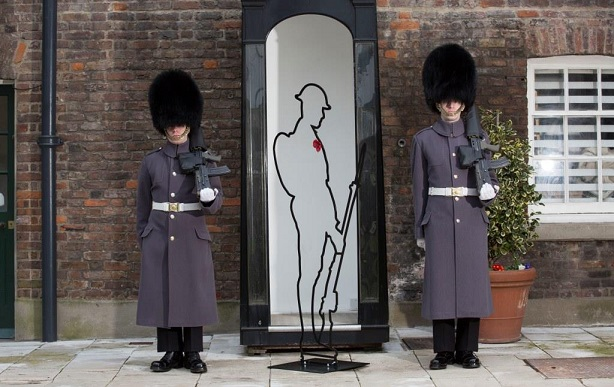 WWI Tommies appear at the Tower of London for Remembered's There But Not There Campaign.