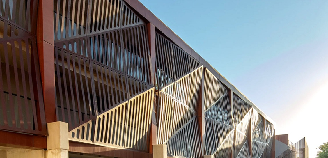 Astor Apartments use origami-style bronze screens. Picture: Tony Owen
