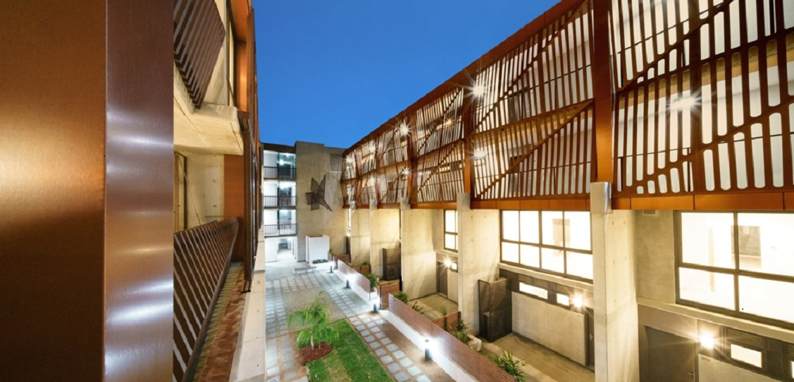 Astor Apartments blend the interiors with the exterior landscaped courtyard. Picture: Tony Owen