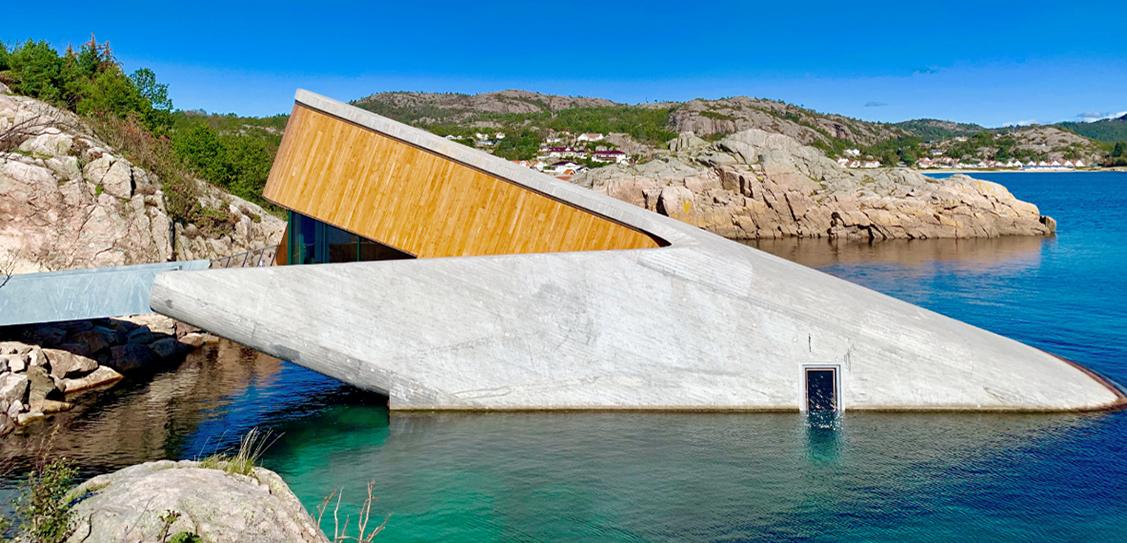 "Europe's first underwater restaurant ""Under"" at the Norwegian coastline is half-sunken in the sea"