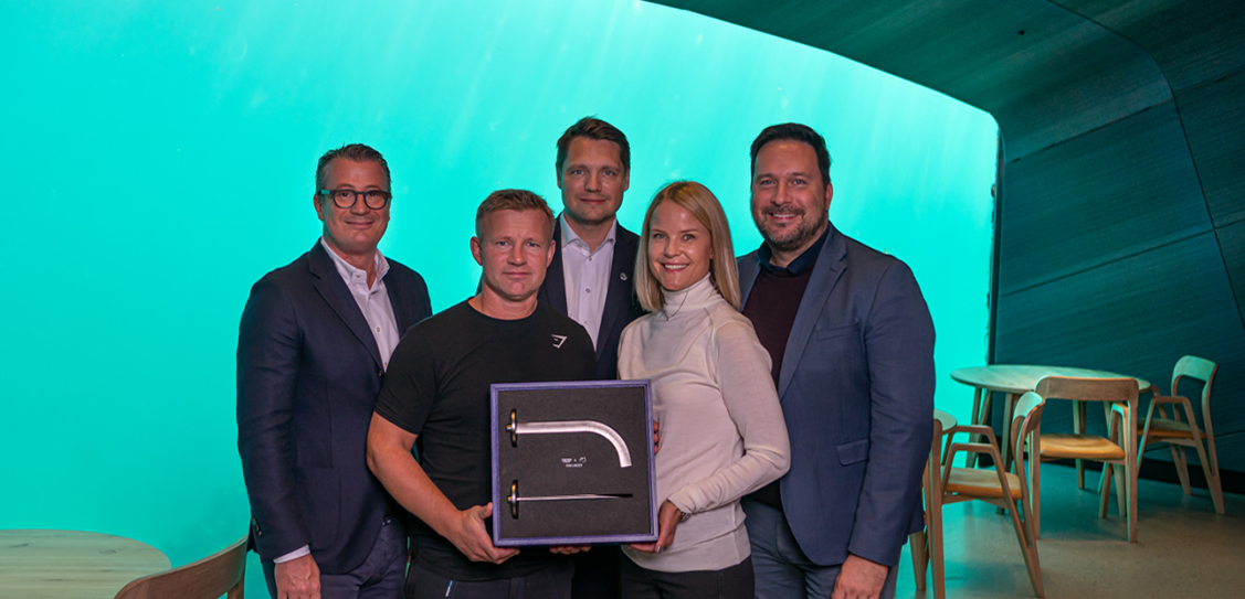 "GROHE Atrio Icon 3D handed over to the owner of ""Under"" Stig Ubostad. Copyright - Bjarne Røyland"