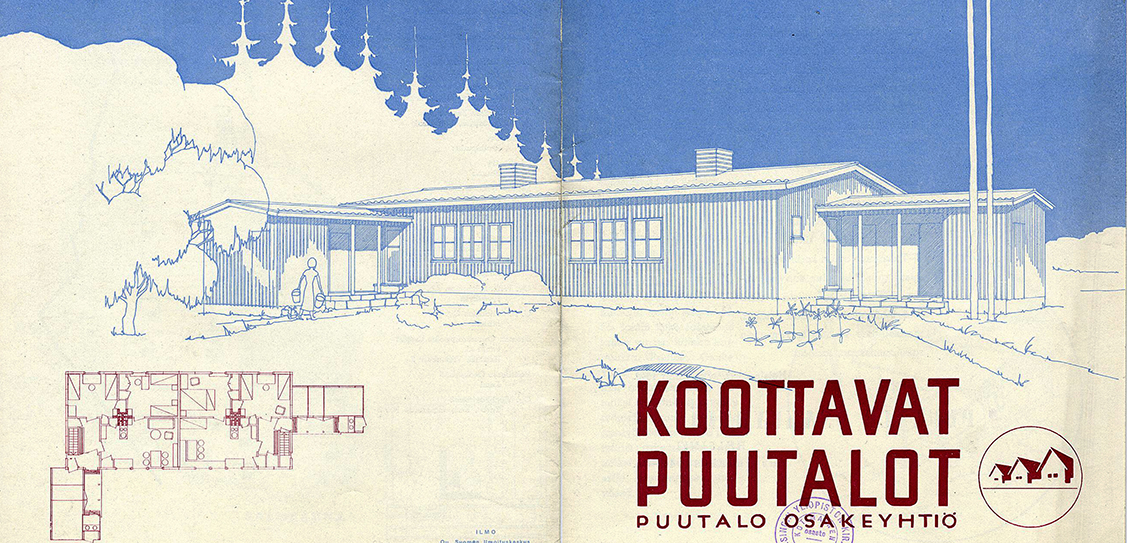 "A brochure from 1940 promotes the Puutalo company in its founding year. The text advertises model homes that can be ""erected from parts in a matter of days"" and the cover depicts a modified version of the Rauhakoto (Peace Home) type house which has been configured for two families with separate saunas and washrooms.