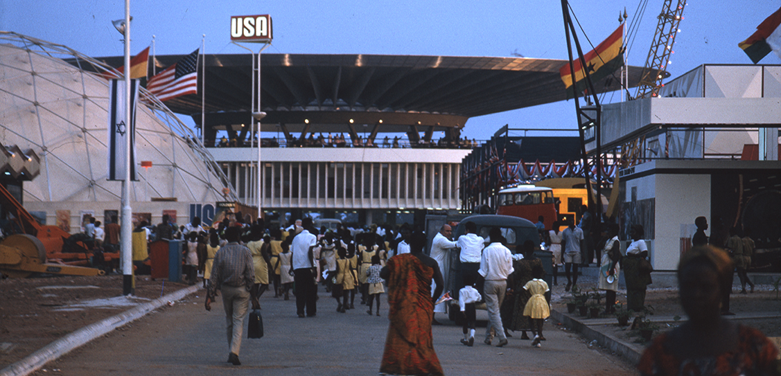 International Trade Fair, Accra, 1962 -67. GNCC, Vic Adegbite (chief architect), Jacek Chyrosz, Stanislaw Rymaszewski (project architects).