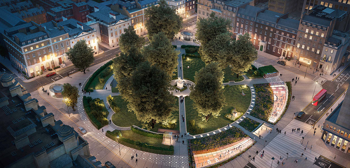 CGIs of Cavendish Square London were created by Revere Design