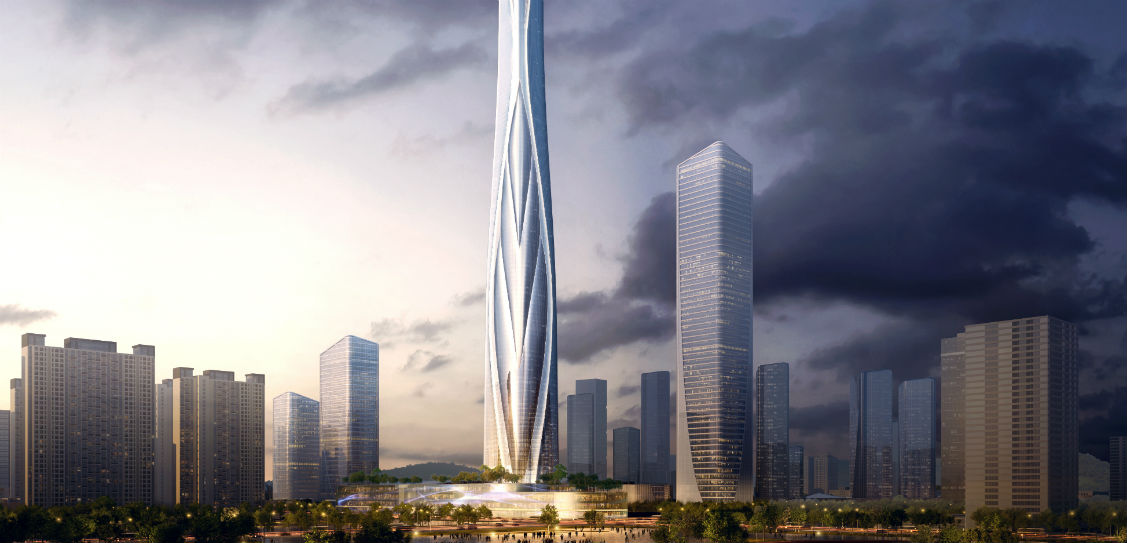 Shimao Shenzhen Longgang Master Plan and the associated tower by Adrian Smith + Gordon Gill Architecture (AS+GG)