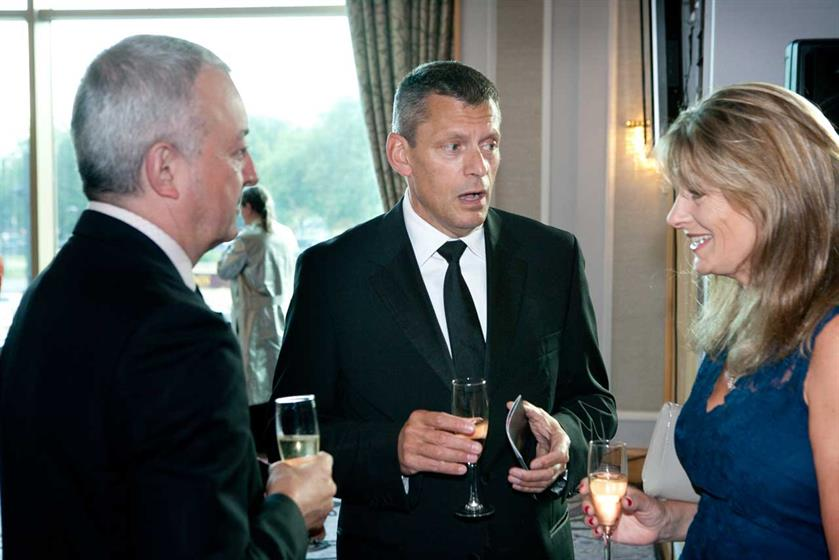 Martin Glenn, the society's president chats with guests at the drinks reception