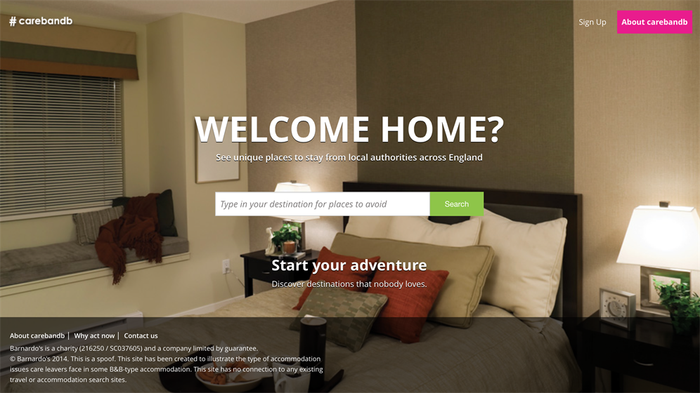 Barnardo's 'Carebnb' site apes Airbnb to highlight state of care