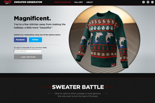 Marketing magazine's own Christmas sweater design - with a marine/reptilian/alien theme against a desert backdrop