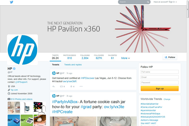 HP's new look Twitter profile