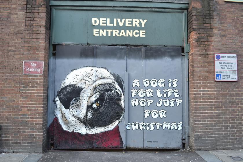 Teddy Baden's street art collaboration with Dogs Trust