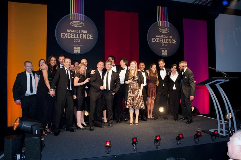 The Sainsbury's and Channel 4 teams gather on-stage after winning the Grand Prix