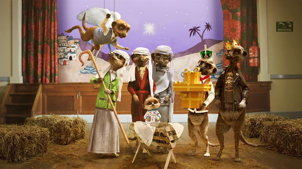 Meerkats welcome baby in Christmas day Comparethemarket com ad