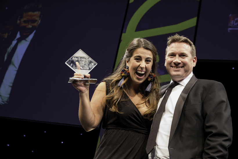 Ellyse Kostoglou collects Modal Britain Award for Carat