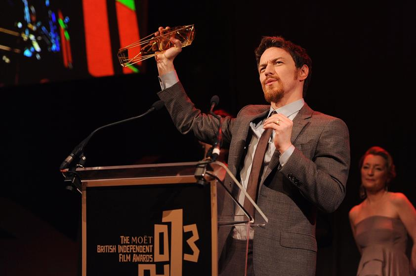 Actor James McAvoy receives the award for Best Actor as he attends the ceremony for the Moet British Independent Film Awards at Old Billingsgate Market on December 8, 2013 in London