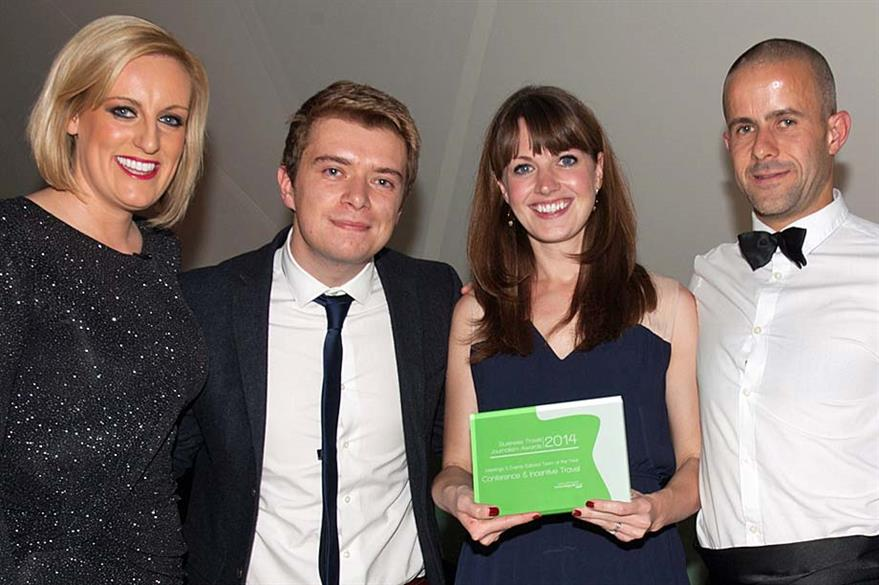 Steph McGovern, Jack Carter, Alison Ledger and Rob McKinlay pick up the Business Travel Journalism Award for Editorial Team of the Year 2014