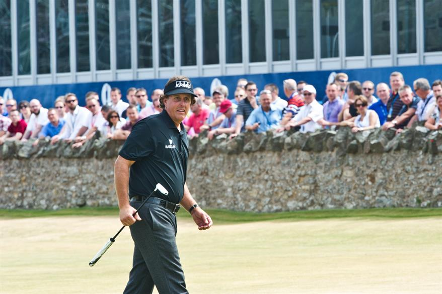 Champion Phil Mickelson at golf's Open Championship 2013, Muirfield, Scotland