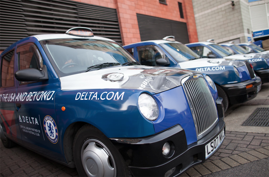 Delta branded taxis line-up at the venue