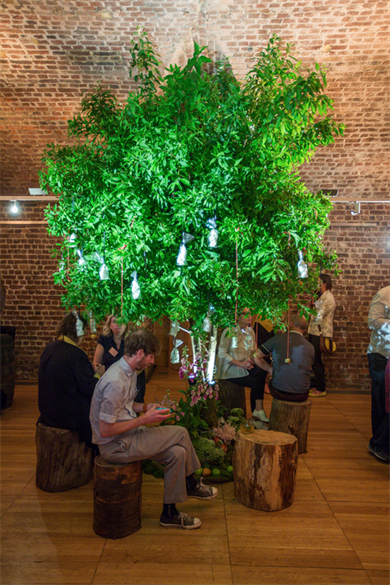 Harbour & Jones Events pop-up orchard in the bare brick vaults of RSA House to launch its campaign to save declining orchards