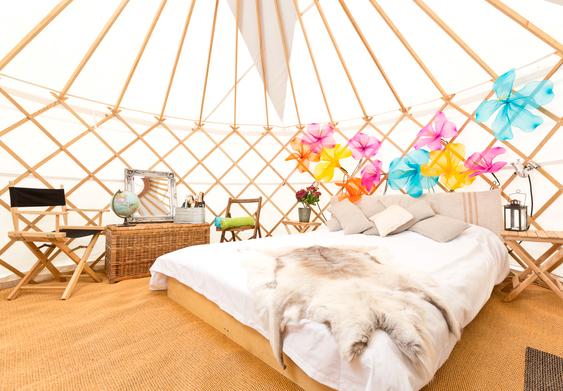Glamping at V Festival in a yurt.