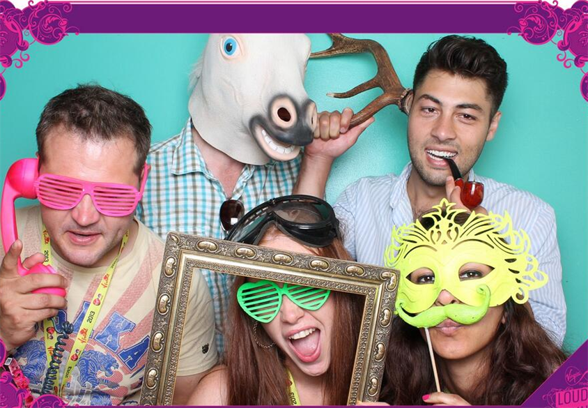 Photo booths at Louder Lounge. We assume the horse's head is a prop.
