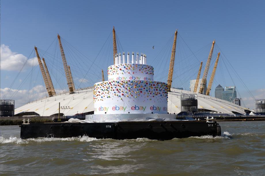 Enjoyable In Pictures Ebay Sends Oversized Birthday Cake Down The Thames Personalised Birthday Cards Veneteletsinfo
