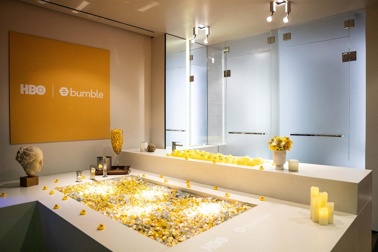 HBO and Bumble create film experience with wine wall and bathtub ...