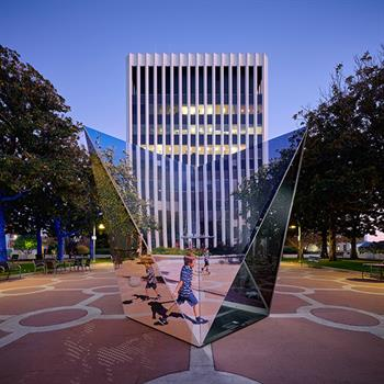 Geometrically artistic structure on view in LA's King Plaza