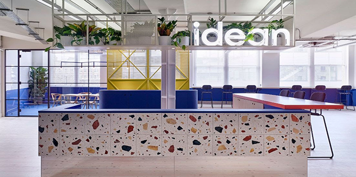 Idean's colourful cafe-style inspired office